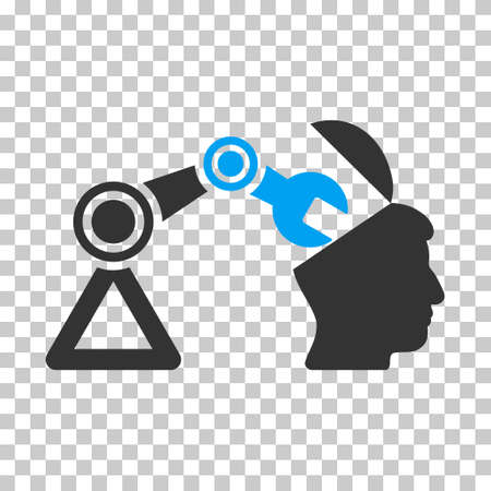 sculp: Blue And Gray Open Head Surgery Manipulator toolbar pictogram. Vector pictogram style is a flat bicolor symbol on chess transparent background.