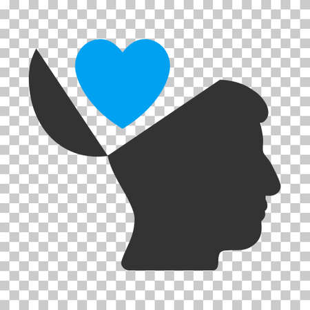 open mind: Blue And Gray Open Mind Love Heart interface toolbar pictogram. Vector pictograph style is a flat bicolor symbol on chess transparent background.