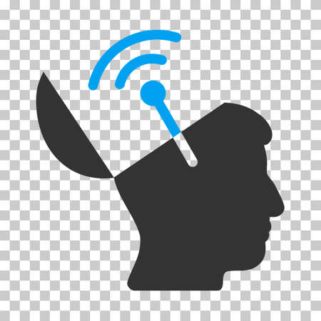 open mind: Blue And Gray Open Mind Radio Interface interface icon. Vector pictogram style is a flat bicolor symbol on chess transparent background.