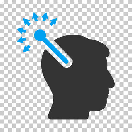persona: Blue And Gray Optical Neural Interface toolbar pictogram. Vector pictograph style is a flat bicolor symbol on chess transparent background. Illustration