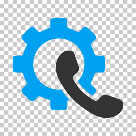 Blue And Gray Phone Configuration toolbar icon. Vector pictogram style is a flat bicolor symbol on chess transparent background.