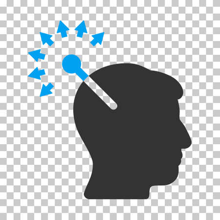 cranial: Blue And Gray Optical Neural Interface interface toolbar icon. Vector pictograph style is a flat bicolor symbol on chess transparent background. Illustration