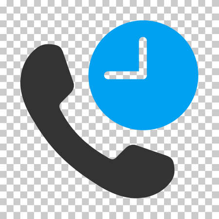 phone time: Blue And Gray Phone Time toolbar icon. Vector pictogram style is a flat bicolor symbol on chess transparent background.