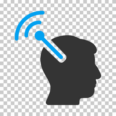 neuroscience: Blue And Gray Radio Neural Interface toolbar pictogram. Vector pictograph style is a flat bicolor symbol on chess transparent background.