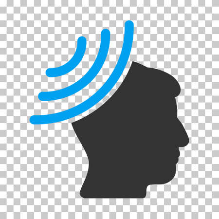 Blue And Gray Radio Reception Mind interface pictogram. Vector pictogram style is a flat bicolor symbol on chess transparent background. Illustration