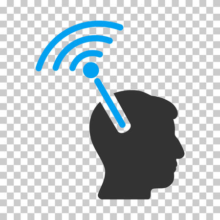 cerebra: Blue And Gray Radio Neural Interface interface pictogram. Vector pictograph style is a flat bicolor symbol on chess transparent background.