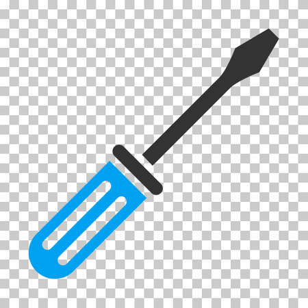 Blue And Gray Screwdriver interface toolbar icon. Vector pictogram style is a flat bicolor symbol on chess transparent background. Illustration