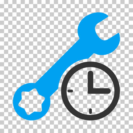 Blue And Gray Service Time interface icon. Vector pictograph style is a flat bicolor symbol on chess transparent background.