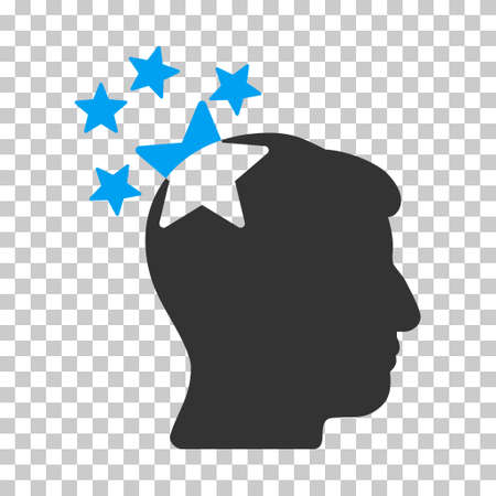 ruch: Blue And Gray Stars Hit Head toolbar pictogram. Vector pictogram style is a flat bicolor symbol on chess transparent background. Illustration