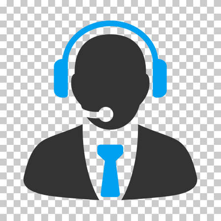 hotline: Blue And Gray Support Manager interface icon. Vector pictogram style is a flat bicolor symbol on chess transparent background.