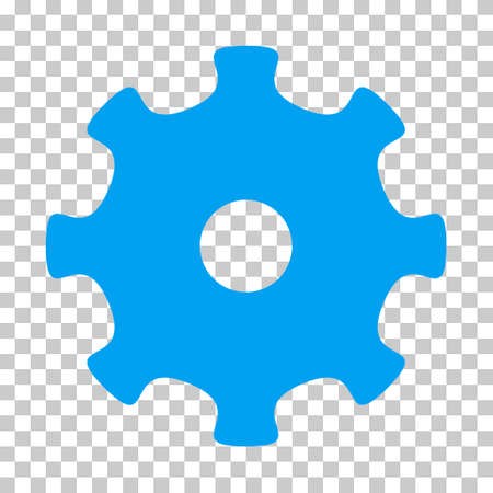 Blue Gear toolbar pictogram. Vector pictogram style is a flat symbol on chess transparent background.