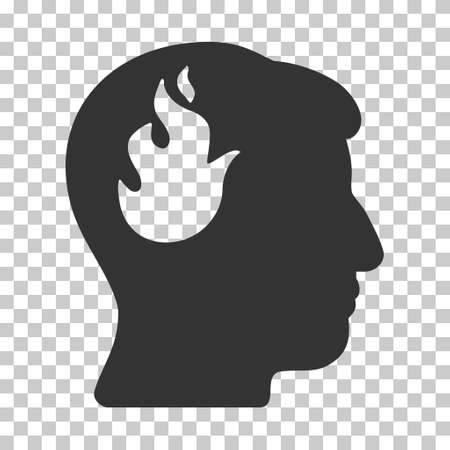 ruch: Gray Brain Fire interface toolbar pictogram. Vector pictogram style is a flat symbol on chess transparent background.