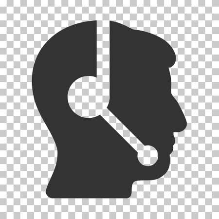 talker: Gray Call Center Operator toolbar pictogram. Vector pictograph style is a flat symbol on chess transparent background. Illustration