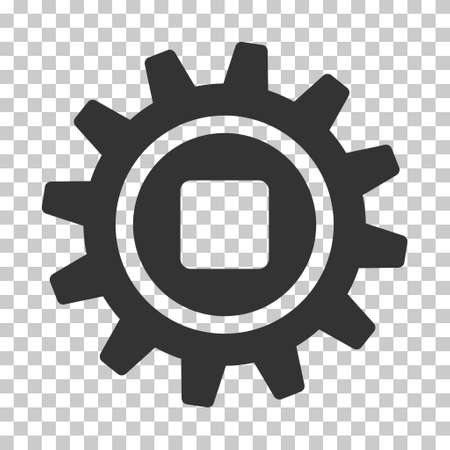 Gray Cog interface icon. Vector pictograph style is a flat symbol on chess transparent background. Illustration