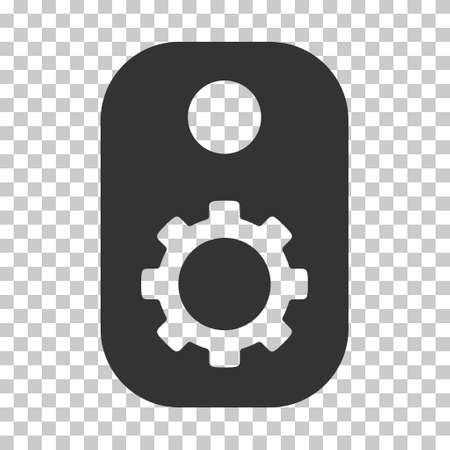 operand: Gray Gear Tag interface toolbar pictogram. Vector pictogram style is a flat symbol on chess transparent background. Illustration