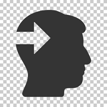 plugin: Gray Head Plug-In Arrow toolbar icon. Vector pictogram style is a flat symbol on chess transparent background.
