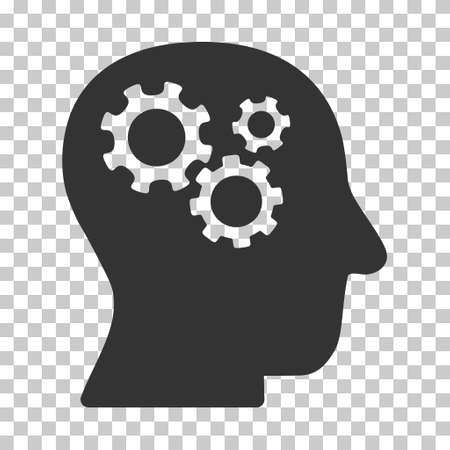 Gray Intellect Gears interface icon. Vector pictogram style is a flat symbol on chess transparent background.