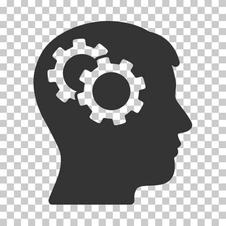 automatic transmission: Gray Intellect Gears interface toolbar pictogram. Vector pictograph style is a flat symbol on chess transparent background.