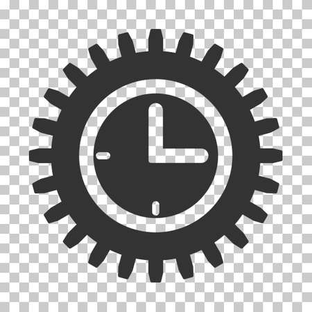 schedule system: Gray Time Options toolbar icon. Vector pictograph style is a flat symbol on chess transparent background. Illustration