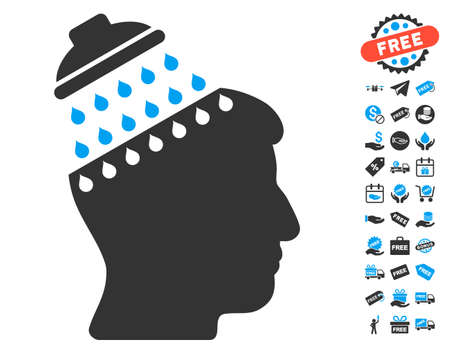 free the brain: Brain Shower pictograph with free bonus images. Vector illustration style is flat iconic symbols, blue and gray colors, white background.
