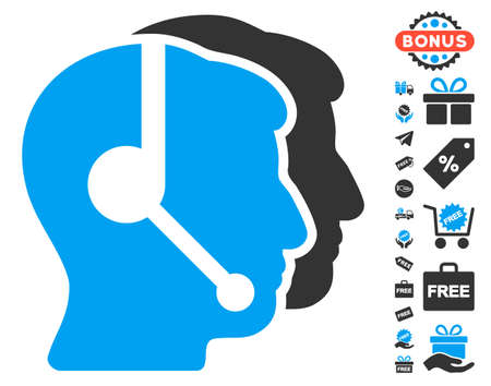 operators: Call Center Operators pictograph with free bonus symbols. Vector illustration style is flat iconic symbols, blue and gray colors, white background. Illustration