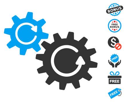 Cogs Rotation Icon With Free Bonus Symbols Vector Illustration