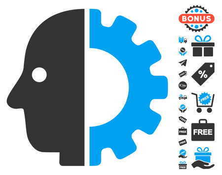 user icon: Cyborg Head pictograph with free bonus images. Vector illustration style is flat iconic symbols, blue and gray colors, white background.