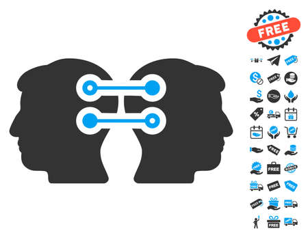 persona: Dual Heads Interface Connection icon with free bonus pictograms. Vector illustration style is flat iconic symbols, blue and gray colors, white background.