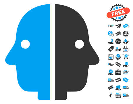 janus: Dual Face pictograph with free bonus clip art. Vector illustration style is flat iconic symbols, blue and gray colors, white background.