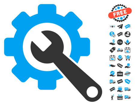 Gear and Wrench icon with free bonus symbols. Vector illustration style is flat iconic symbols, blue and gray colors, white background. Illustration