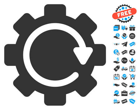 config: Gear Rotation Direction icon with free bonus pictograms. Vector illustration style is flat iconic symbols, blue and gray colors, white background. Illustration