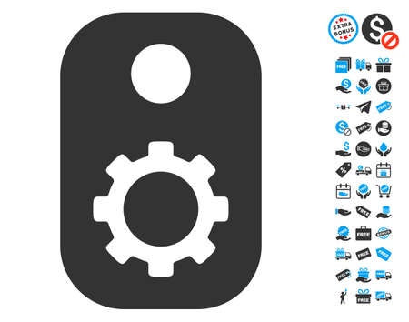 technical term: Gear Tag pictograph with free bonus pictures. Vector illustration style is flat iconic symbols, blue and gray colors, white background. Illustration