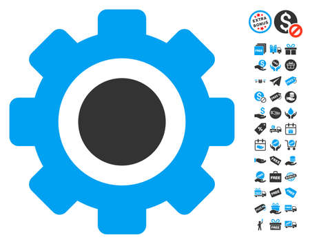 Gear icon with free bonus images. Vector illustration style is flat iconic symbols, blue and gray colors, white background. Illustration