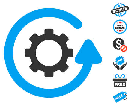 Gearwheel Rotation Direction icon with free bonus clip art. Vector illustration style is flat iconic symbols, blue and gray colors, white background.