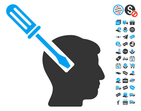 endoscopy: Head Screwdriver Tuning icon with free bonus clip art. Vector illustration style is flat iconic symbols, blue and gray colors, white background.