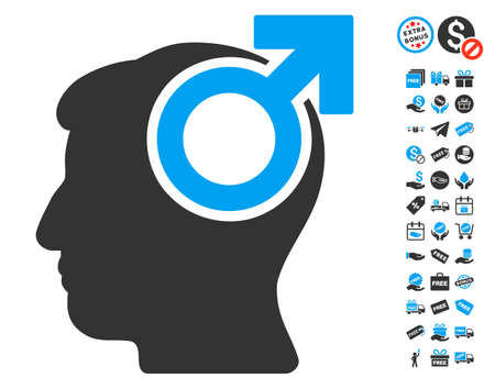 potency: Intellect Potency pictograph with free bonus pictures. Vector illustration style is flat iconic symbols, blue and gray colors, white background.