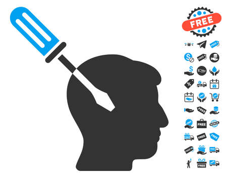 Intellect Screwdriver Tuning pictograph with free bonus pictures. Vector illustration style is flat iconic symbols, blue and gray colors, white background.