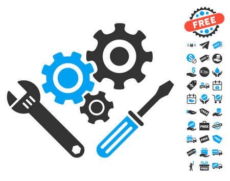 Mechanics Tools pictograph with free bonus design elements. Vector illustration style is flat iconic symbols, blue and gray colors, white background.