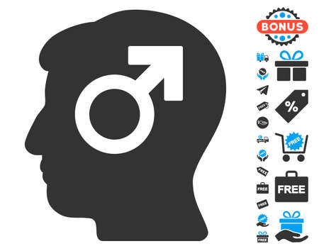 erection: Mind Potency pictograph with free bonus pictograms. Vector illustration style is flat iconic symbols, blue and gray colors, white background.