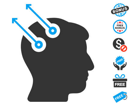 cerebra: Neural Interface Plugs pictograph with free bonus clip art. Vector illustration style is flat iconic symbols, blue and gray colors, white background.