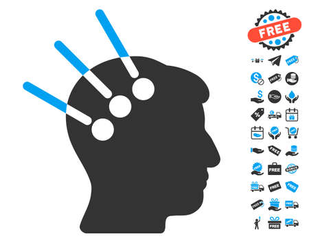 persona: Neural Interface icon with free bonus graphic icons. Vector illustration style is flat iconic symbols, blue and gray colors, white background.