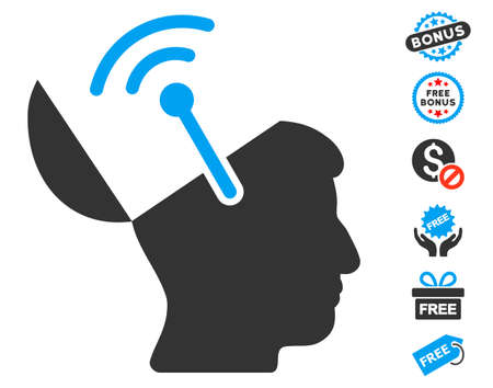 free the brain: Open Brain Radio Interface icon with free bonus design elements. Vector illustration style is flat iconic symbols, blue and gray colors, white background.