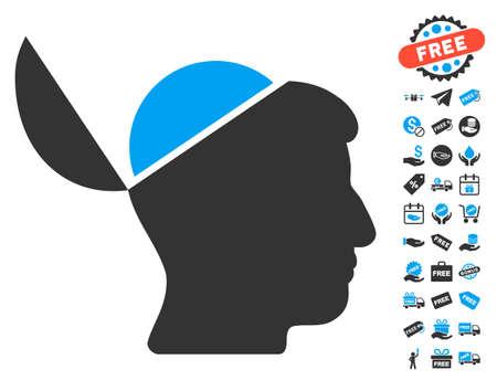 Open Brain icon with free bonus pictures. Vector illustration style is flat iconic symbols, blue and gray colors, white background. Vektoros illusztráció