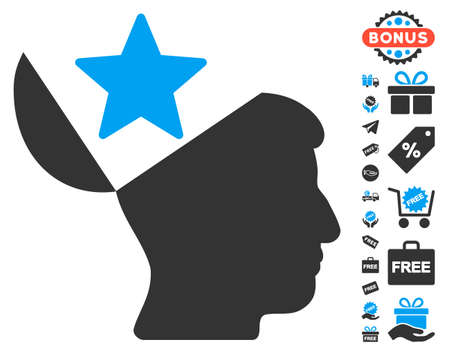 open minded: Open Head Star pictograph with free bonus images. Vector illustration style is flat iconic symbols, blue and gray colors, white background. Illustration