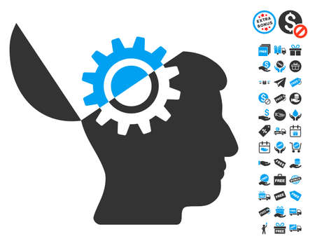 open minded: Open Mind Gear pictograph with free bonus images. Vector illustration style is flat iconic symbols, blue and gray colors, white background.