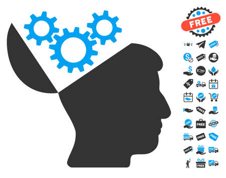 open mind: Open Mind Gears pictograph with free bonus design elements. Vector illustration style is flat iconic symbols, blue and gray colors, white background.