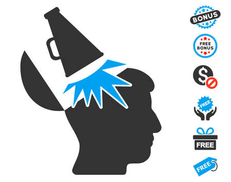 open mind: Open Mind Megaphone icon with free bonus graphic icons. Vector illustration style is flat iconic symbols, blue and gray colors, white background.