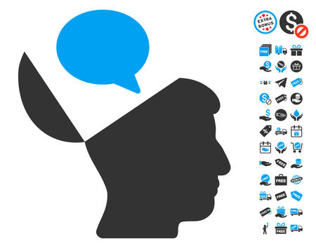 open mind: Open Mind Opinion icon with free bonus images. Vector illustration style is flat iconic symbols, blue and gray colors, white background. Illustration