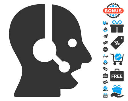 contact icon: Operator icon with free bonus icon set. Vector illustration style is flat iconic symbols, blue and gray colors, white background. Illustration