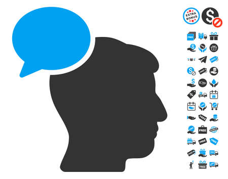 Person Idea pictograph with free bonus graphic icons. Vector illustration style is flat iconic symbols, blue and gray colors, white background.